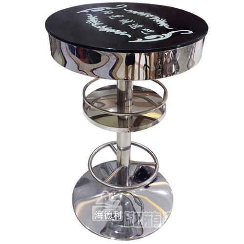 夜场酒吧散台发光钢化玻璃慢摇清吧台桌_不锈钢高脚桌定制