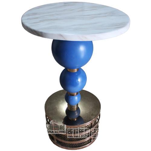 大理石台面酒吧桌台北纯K蓝色球散台桌子酒吧夜场不锈钢台桌