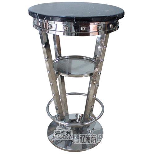 休闲小酒吧大理石台面慢摇清吧台桌_创意时尚不锈钢高脚桌