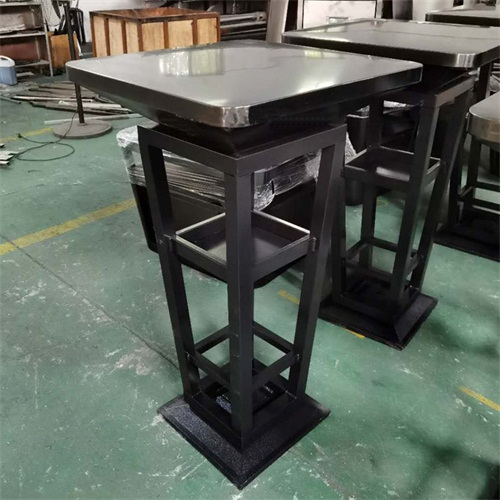 KTV酒吧散台桌_本色不锈钢拉丝吧台面铁艺高脚桌