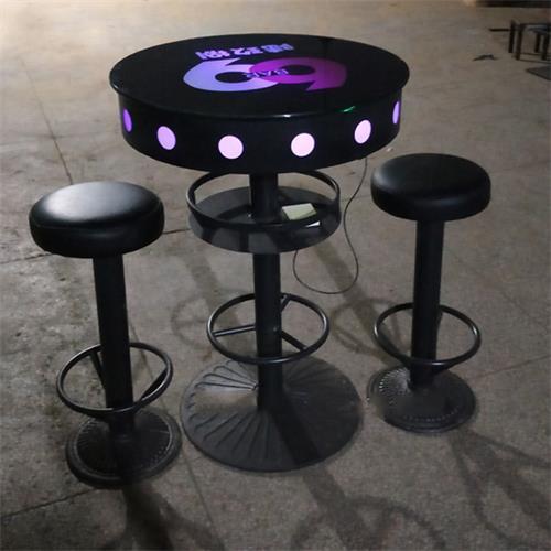 慢摇酒吧发光桌_酒吧散台钢化玻璃桌子圆型高脚吧台凳