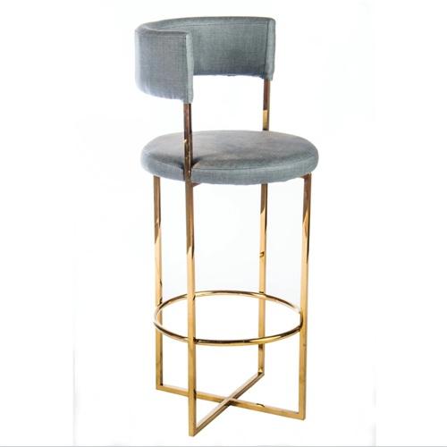 不锈钢轻奢高脚酒吧椅_时尚酒吧高脚圆椅