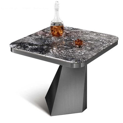 不锈钢异形桌脚大理石台面轻奢酒吧茶几桌
