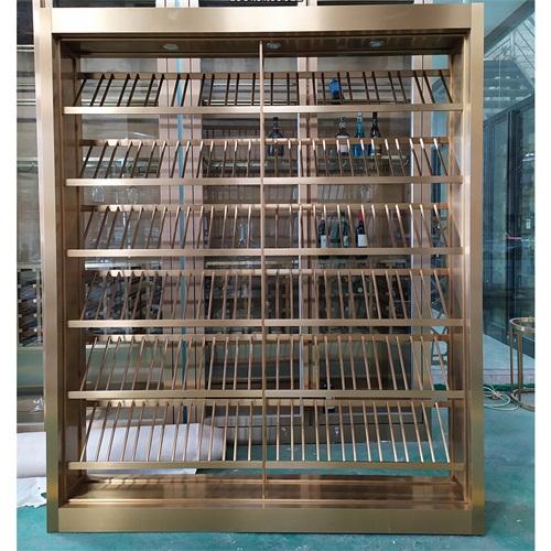 定制钛金不锈钢酒柜酒窖轻奢风_不锈钢酒柜制品生产厂家