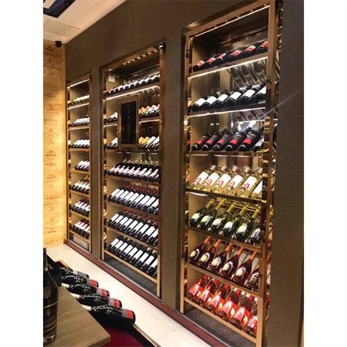 酒庄玫瑰金不锈钢恒温酒柜酒窖定做_不锈钢恒温酒柜厂家