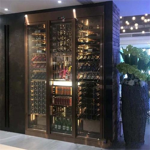私人会所高端恒温不锈钢酒柜_轻奢不锈钢酒柜