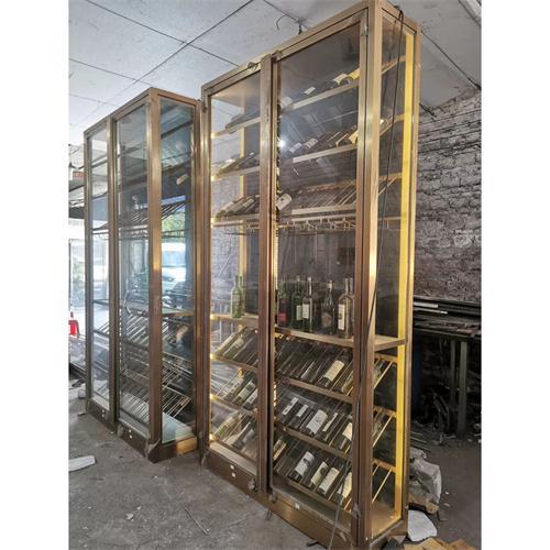 不锈钢红酒柜加工厂家_不锈钢玫瑰金红酒柜