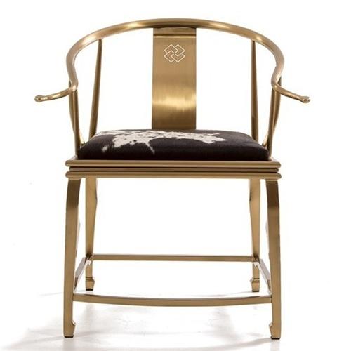 北欧不锈钢西餐厅餐椅_简约轻奢咖啡厅椅子