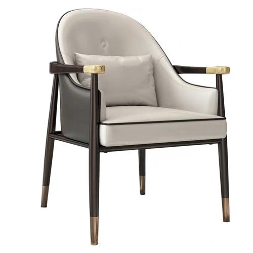 美式乡村实木皮革软包星巴克咖啡馆椅子
