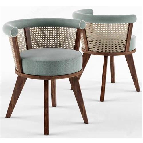 咖啡厅实木布艺软包藤编靠背椅