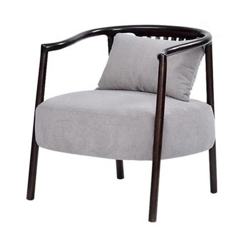 咖啡厅胡桃实木布艺软包单人沙发椅