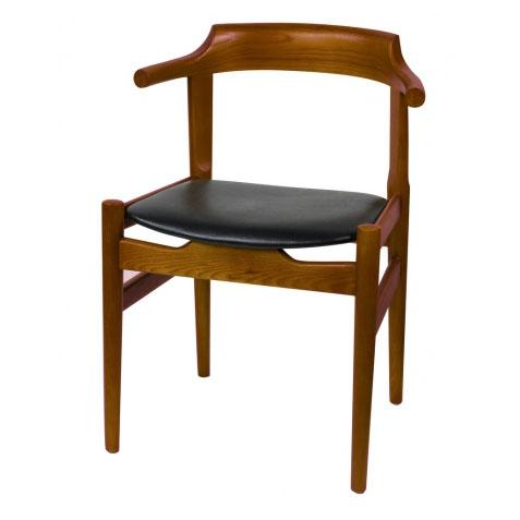 咖啡厅牛角叉骨椅 全实木靠背皮质座垫咖啡椅