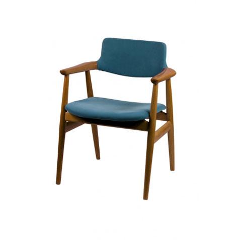 北欧现代简约靠背扶手咖啡厅椅 实木曲木胡桃色咖啡椅