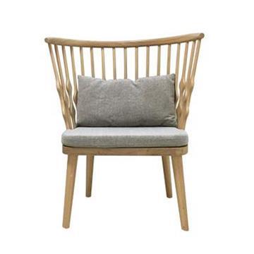 咖啡厅全实木白橡木布艺温莎椅