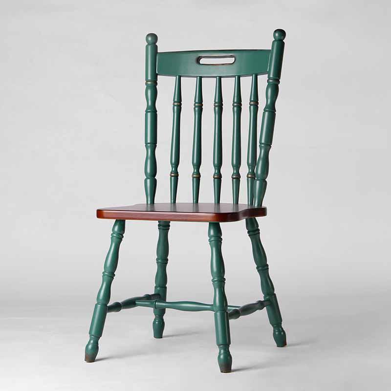 咖啡店简约竹节椅子温莎椅 美式乡村实木餐椅靠背椅