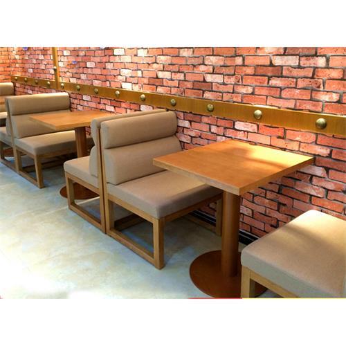 咖啡厅休闲实木桌椅_咖啡店时尚布艺卡座沙发桌椅组合