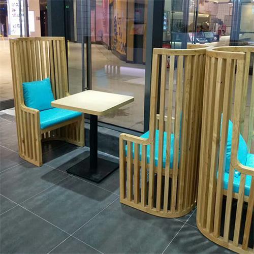咖啡店时尚咖啡桌椅半圆形实木条围椅子