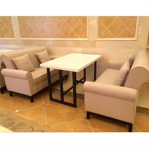 咖啡厅双人休闲布艺维也纳酒店沙发桌椅组合