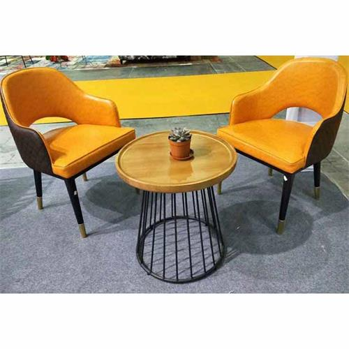 北欧铁艺实木圆咖啡桌洽谈桌简约茶几