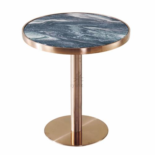 咖啡厅奶茶店不锈钢大理石餐桌_咖啡馆休闲桌椅