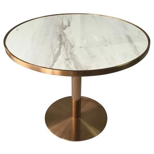 轻奢洽谈现代简约大理石餐桌_圆形咖啡桌椅