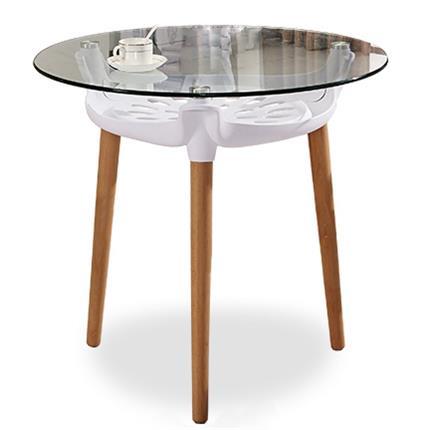 咖啡厅时尚实木小圆餐桌 钢化玻璃桌面咖啡桌子