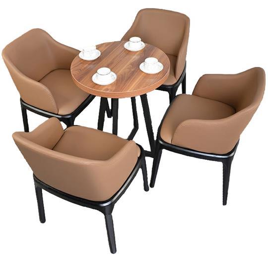 美式铁艺实木圆形咖啡桌_咖啡厅餐桌椅组合