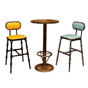胡桃里咖啡厅复古高脚椅吧台凳柳钉桌椅组合