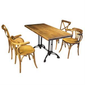 铸铁铁脚餐桌 胡桃里咖啡厅实木餐桌椅