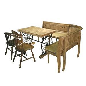 漫咖啡复古实木铁艺车轮桌子