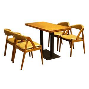 现代简约实木咖啡桌 铁艺桌脚咖啡厅餐桌