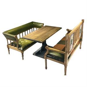 胡桃里复古怀旧休闲咖啡厅实木桌沙发卡座组合