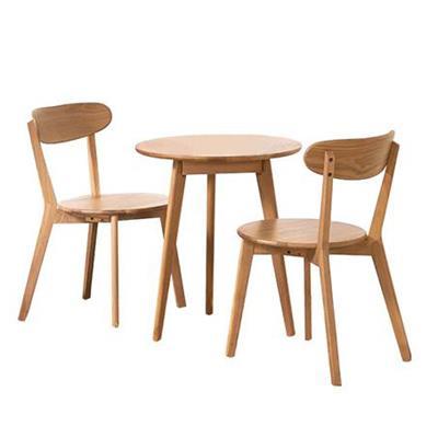现代简约咖啡厅白橡木实木圆形餐桌