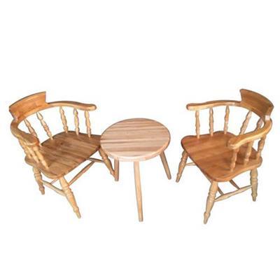 法式复古做旧咖啡厅圆桌椅组合