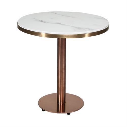 简约现代北欧大理石面圆桌不锈钢休闲咖啡厅桌子