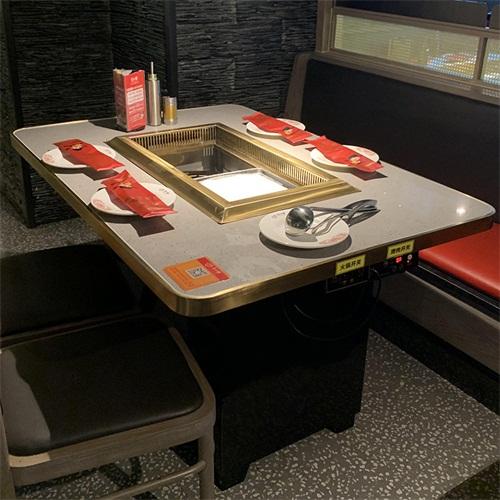 无烟烤涮一体火锅餐桌_火锅店餐饮涮烤一体桌