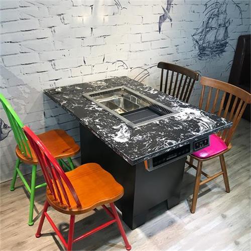 韩式无烟纸上烧烤桌椅_自助大理石烤刷一体火锅桌椅
