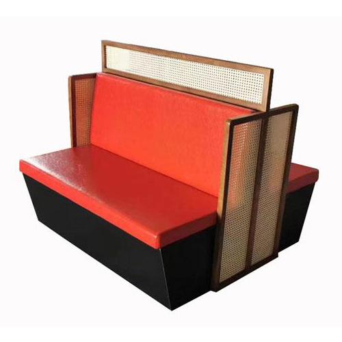 中式餐厅火锅店真皮软包双面卡座沙发