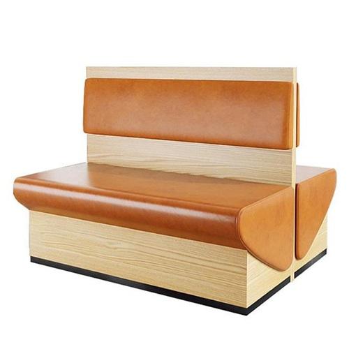 火锅店中式真皮实木架双排卡座