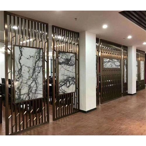 酒店餐厅新中式玫瑰金花格不锈钢屏风_不锈钢屏风制品厂