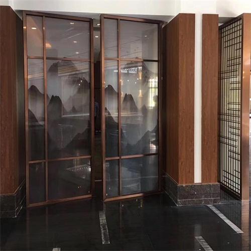 酒店会所新中式玫瑰金不锈钢屏风_高档不锈钢屏风厂