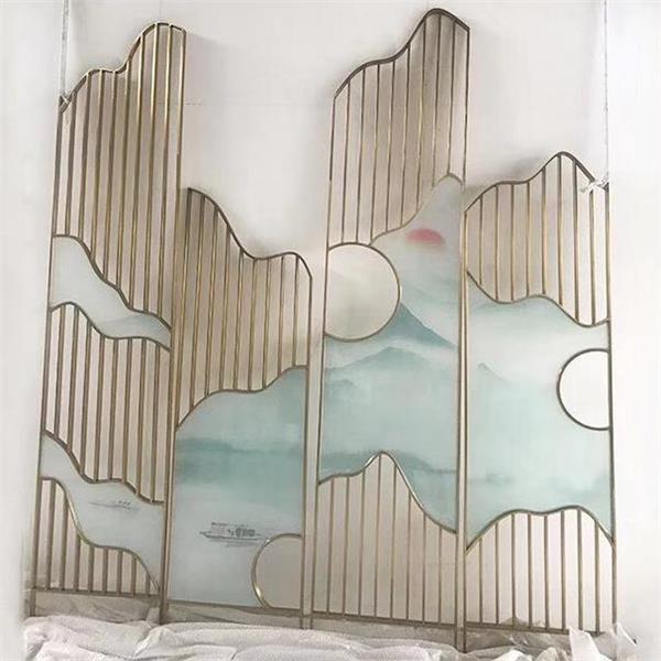 中式活动屏风隔断墙_酒楼饭店不锈钢彩色屏风