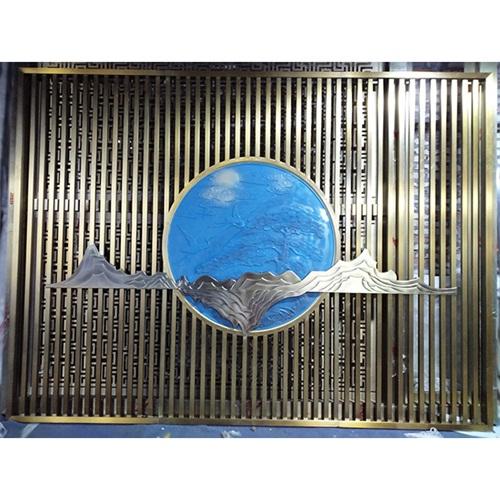 钛金花格新古典不锈钢屏风隔断_不锈钢屏风生产