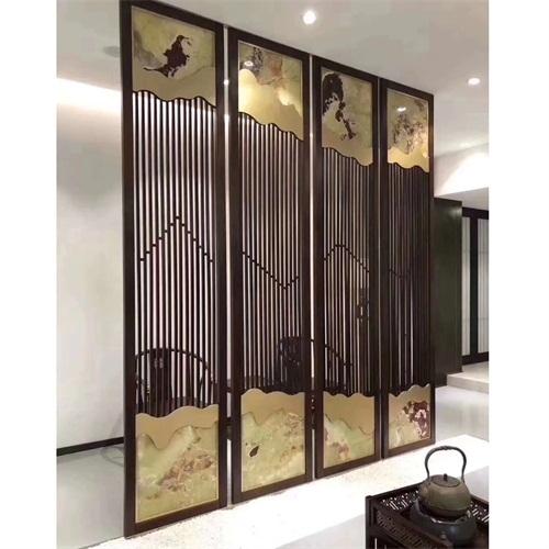 中式花格新古典不锈钢屏风隔断_不锈钢屏风制品厂