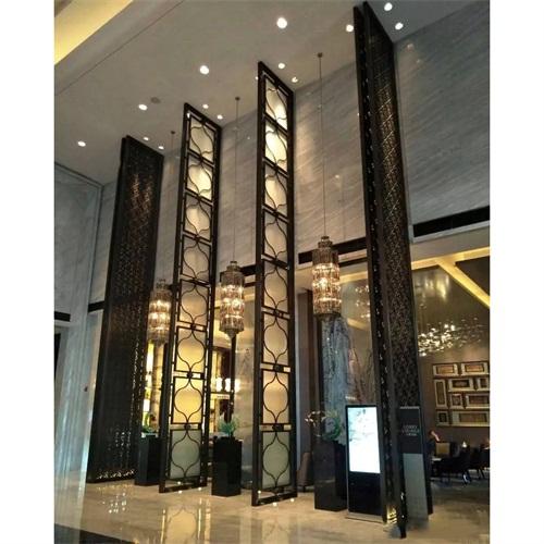 新中式带磨砂玻璃现代不锈钢屏风隔断加工厂