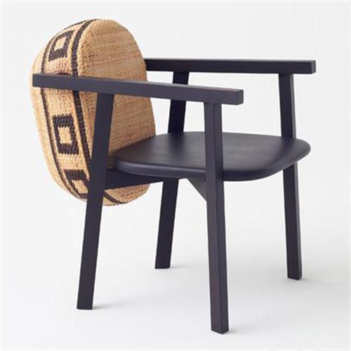 日本料理店创意实木藤包靠背椅子