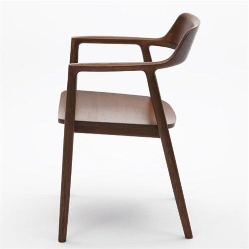 日式铁板烧胡桃色带扶手靠背椅子