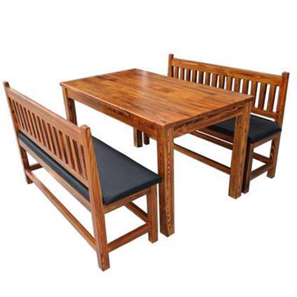 食堂实木碳化复古长桌凳