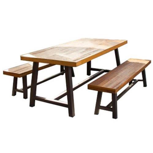 美式铁艺实木食堂餐桌椅组合