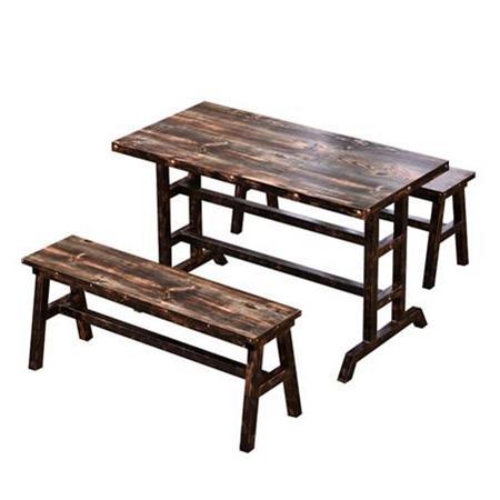 碳化木4人位实木食堂餐桌椅